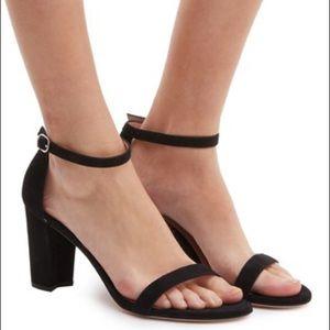 Stuart Weitzman Nearlynude Black Suede Sandals 9.5